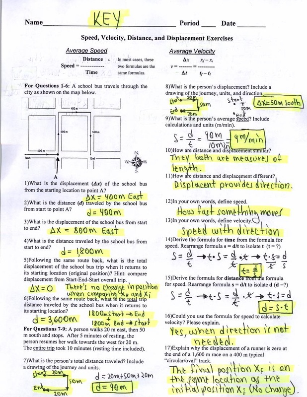 KEY Speed Velocity Distance and Displacement Exercises – Distance Displacement Worksheet