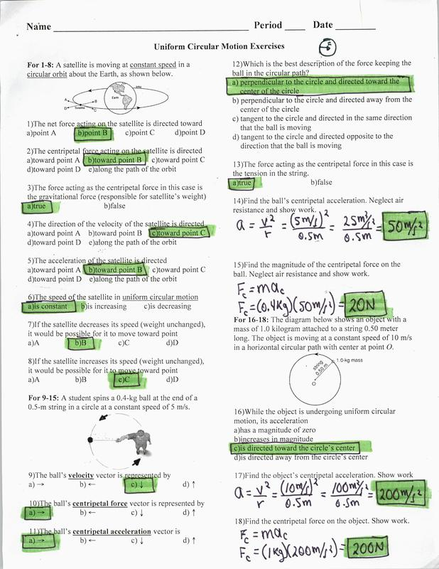 KEY: Uniform Circular Motion - Physics and AP Physics 1