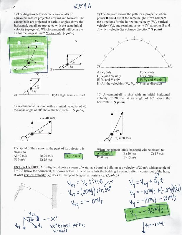 KEY: PROJECTILE MOTION TEST - Physics and AP Physics 1